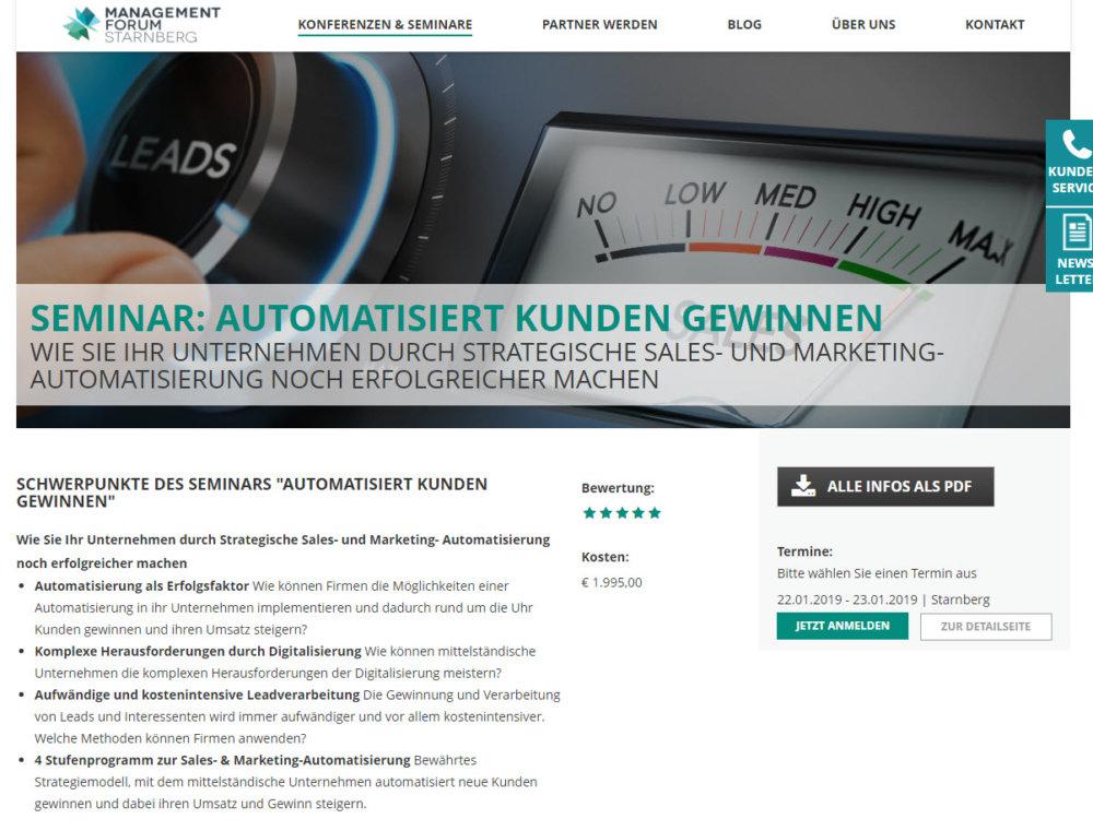 Seminar: Automatisiert Kunden gewinnen vom Management Forum Starnberg (management-forum.de/konferenzen-seminare/seminar-automatisiert-kunden-gewinnen/ am 11.12.2018)